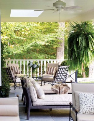 The spacious veranda affords plenty of seating.