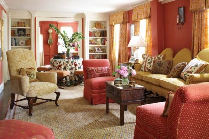 A Jacobean-style humpback sofa adds liveliness.