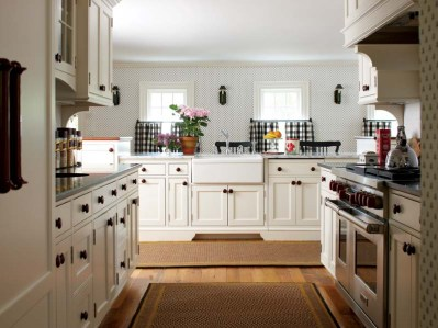 Custom wood pulls enhance kitchen cabinets.