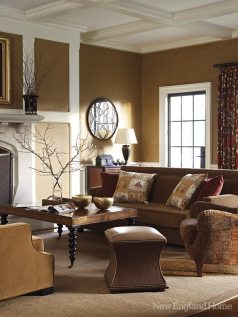 Richer tones and an eclectic furniture selection give the new family room a more contemporary touch.