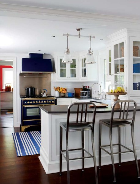 """Miller chose the blue porcelain stove as a """"piece of furniture to draw the eye."""""""