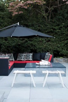 The patio sports colorful furnishings.