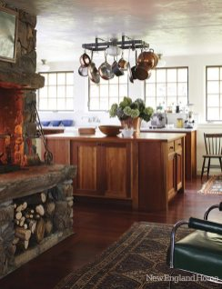 A raised hearth warms the kitchen.