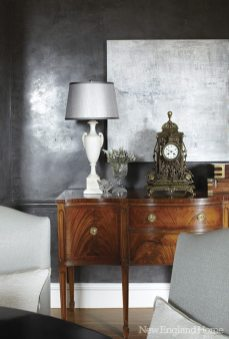 The dining room's Sheraton sideboard lends classic grace to modern design.