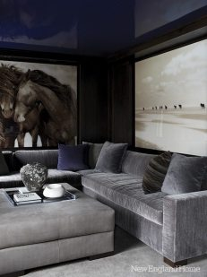 Robert Dutesco prints are framed in walnut and surrounded by high-gloss lacquered ceilings and built-ins in the media room.