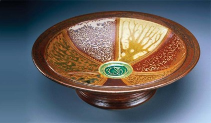 """Seven Sediment Sampler"" (1999), seven marine sediments and copper green glaze, 14""W x 5""H"