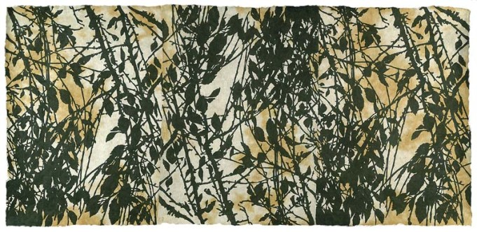 """Branch to Branch"" (Green Print Portfolio), editioned woodcut, 19"" x 42"""