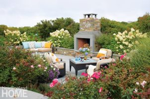 Contemporary Nantucket Shingle Style Outdoor Fireplace
