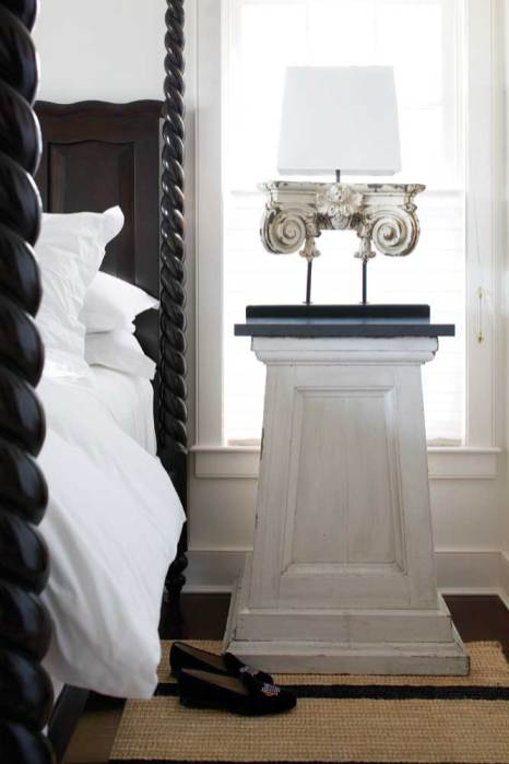 A column-turned-nightstand adds an architectural element to the master bedroom.