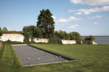 The active family loves outdoor games, including bocce.