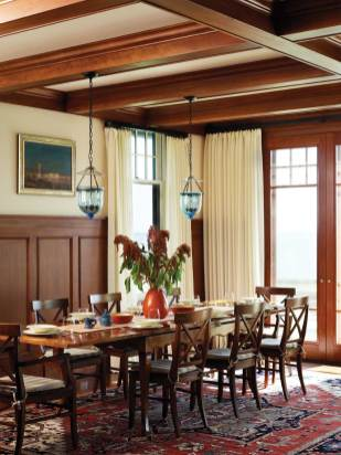 The dining area rug came from Yayla Tribal Rugs in Cambridge, Massachusetts.
