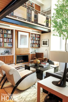Contemporary Boston South End Townhouse Living Room with Bookshelf
