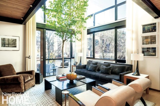 Contemporary Boston South End Townhouse Living Room with Steel Windows
