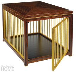 Interior designer Charles Spada emphasizes the value of truly custom creations, such as a pair of end tables cum dog kennels—constructed in macassar ebony veneer and distressed brass—that he created for a pet-loving client's home.