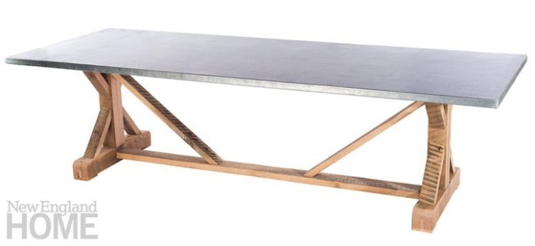 This zinc-topped trestle table from Kingston Krafts represents another marriage of textural materials.
