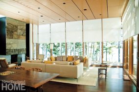 Motorized shades are only the most visible aspect of System 7's integrated technology in this Maine home by Anmahian Winton Architects.