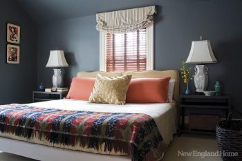 In one of four second-floor guest rooms, Miller plays on an all-American color scheme.