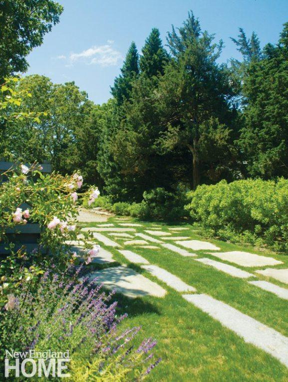 LeBlanc Jones Cape Cod Landscape Design Granite Slab Stepping Stones