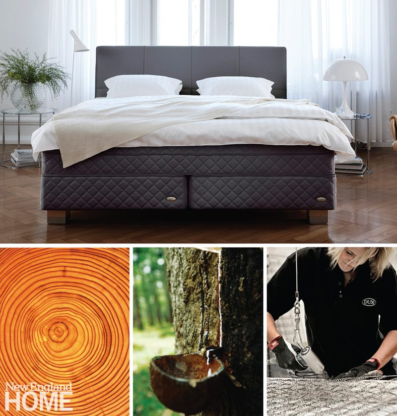 Clockwise from top left: The DUX 515 bed from Duxiana. A worker assembles a network of steel springs. Natural latex and dense, old-growth Swedish pine are two more ingredients used to create products that are both comfortable and long-lasting.