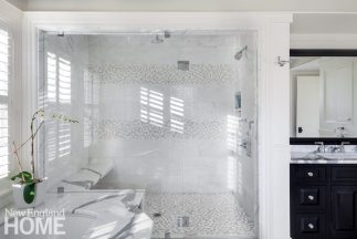 Master bathroom in shingle style home designed by Patrick Ahearn.