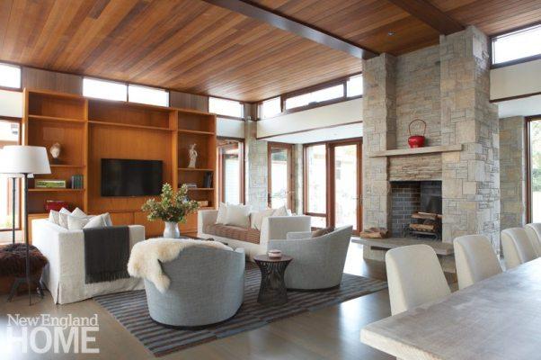 Living room of Frank Lloyd Wright inspired home on Martha's Vineyard designed by Debra Cedeno