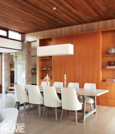 Dining room of Frank Lloyd Wright inspired home on Martha's Vineyard designed by Debra Cedeno