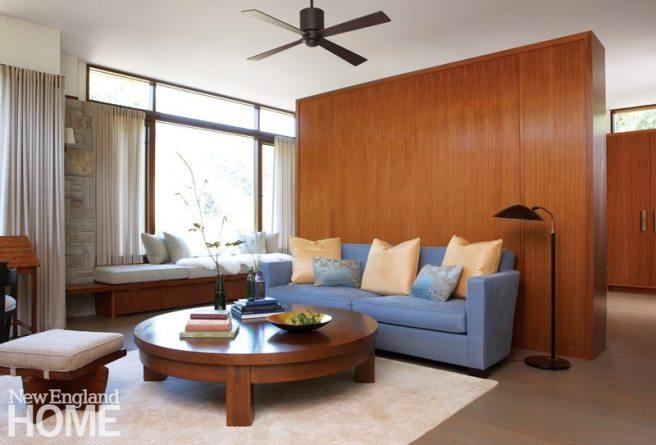 Master bedroom seating area of Frank Lloyd Wright inspired home on Martha's Vineyard designed by Debra Cedeno