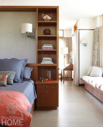 Master bedroom of Frank Lloyd Wright inspired home on Martha's Vineyard designed by Debra Cedeno