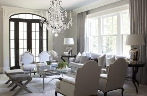 Elegant neutral living room in Brookline, Mass.
