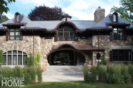Stone home in Brookline, Mass. designed by Meyer & Meyer.