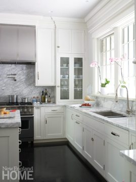 White kitchen in Brookline designed by Meyer & Meyer.