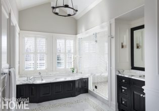 Master bathroom in shingle style home designed by Patrick Ahearn