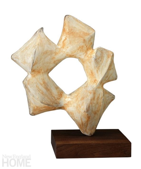 Five Part Form (2014) extruded, cut, assembled clay with white and red slip, walnut base, 15″H × 13″W × 3″D