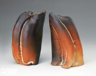 malcolm-wright_Two Free Form Vases (2014), extruded, crushed, rolled clay with white slip