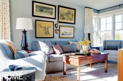 Sheldon Penoyer New Hampshire Blue and White Family Room