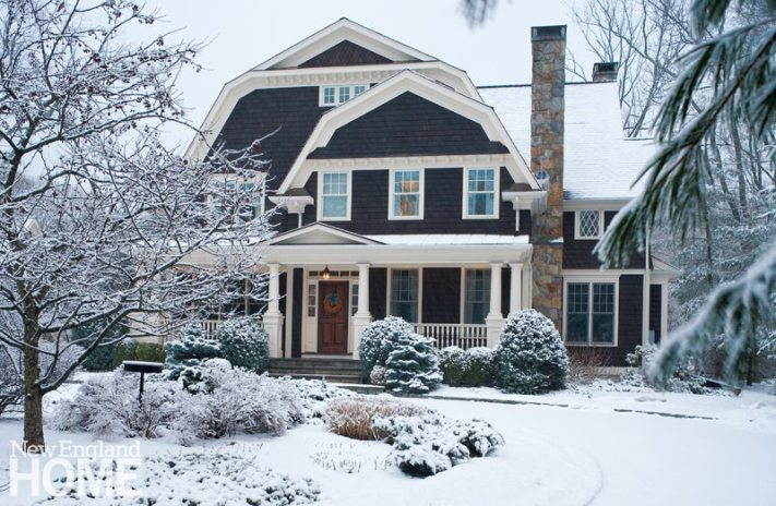 The Colonial-style house presents a welcoming face, even on a frigid winter day. The homeowners love that it's big enough for their family of five as well as overnight guests. They also like that it's just a few minutes walk to Ridgefield's Main Stree.