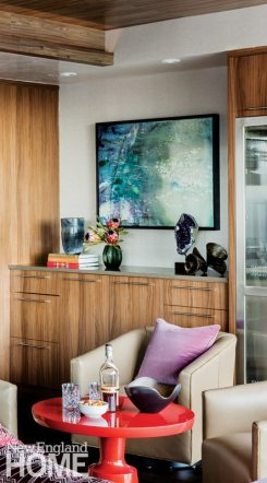 Contemporary and Family Friendly Boston Condo Bar with Contemporary Artwork