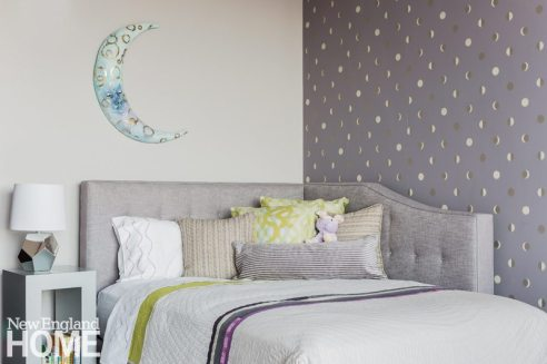 Contemporary and Family Friendly Boston Condo Girl's Bedroom with Custom Headboard