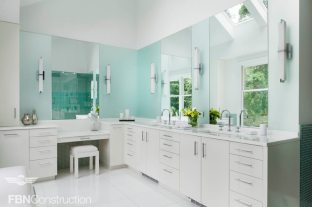 Elegant white master bathroom built by FBN Construction