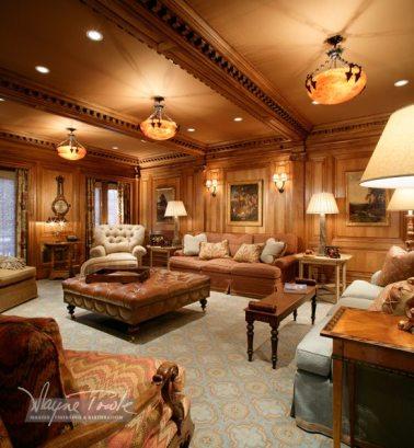 Wayne Towle Wood and Furniture Refinishing Butternut Paneled Living Room