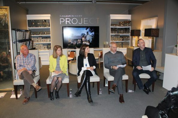 Lillian August Luxury Living Talk Raymond Forehand, Laura Kaehler, Tara Vincenta, Dan Weiss, and New England Home's Kyle Hoepner