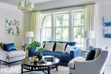 Jennifer Palumbo gave the rooms a quiet background, then enlivened them with color, as in the rich blues she introduced in the living room.