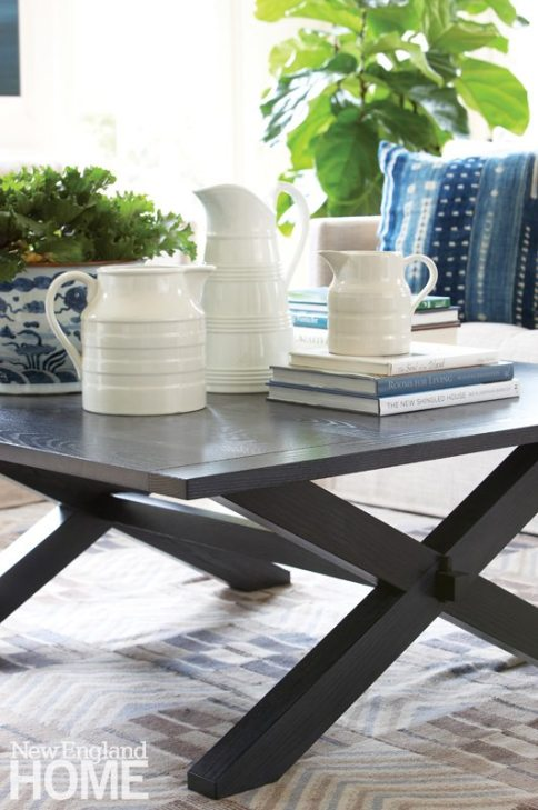Nantucket Home Coffee Table with White Creamware Pitchers