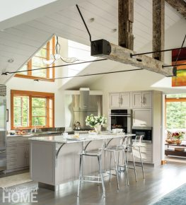 Stowe Vermont White Kitchen with Exposed Beams