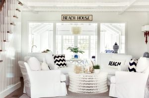 Cape Cod Cottage all-white Family Room