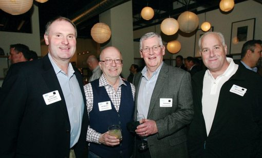 Wayne Southworth of MWI Fiber Field, Bill Morton of Back Bay Shutter, Rob Henry of Audio Video Design, and Karl Ivester of New England Shutter Mill