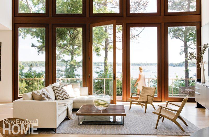 Coastal building room with wall of windows