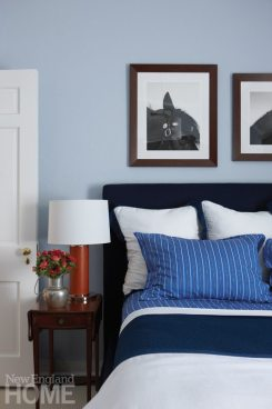 Darien Stone Cottage blue and white Master Bedroom
