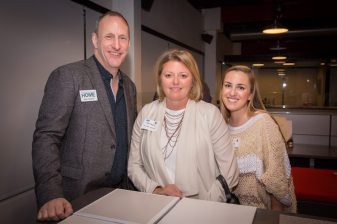 New England Home's Kyle Hoepner with Terri Ricci and Rebecca Vulcano of Terri Ricci Interiors