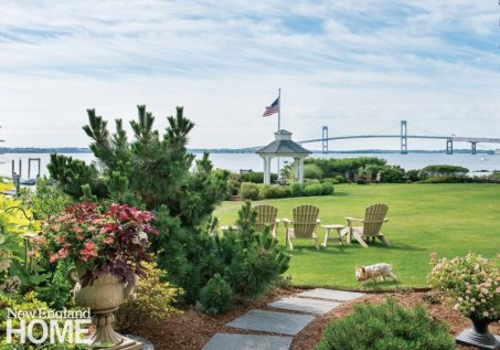 A folly designed by architect Mary Brewster in the broad corridor of lawn and garden between the carriage and main houses makes a charming spot to take in the views of Narragansett Bay's East Passage and the Claiborne Pell Newport Bridge.